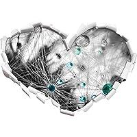 Gocce d'acqua su semi di dente di leone nero / a forma di cuore bianco in formato sguardo, parete o adesivo porta 3D: 92x64.5cm, autoadesivi della parete, Stickers murali,