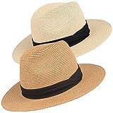 Maylisacc Panama Hat Délicat Homme Femme Chapeau Panama Fedora en Paille Respirable pour Plage Shopping Photographie - 2 Pièces