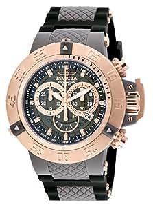 Invicta Men's Quartz Watch with Blue Dial Chronograph Display and Black Plastic Strap 932