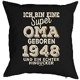 Geschenkidee zum 70 Geburtstag Polster Kissen mit Füllung super Oma geboren 1948 Polster zum 70. Geburtstag für 70-jähirge Dekokissen