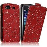 Seluxion - Housse Coque Etui Pour Samsung Wave 3 Style Diamant Couleur Rouge