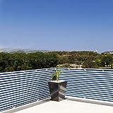 Brise vue casa pura pare vue canisse | balcon, jardin | occultant, résistant aux intempéries | 90x500cm - bleu et blanc