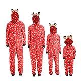 Weihnachten Familie Pyjamas Outfit Schlafanzug Nachtwäsche Damen Herren Baby Säugling Family Kleidung Zuhause Matching Set Xmas, Jungen Mädchen Kapuze Strampler Overall (Baby,12M)