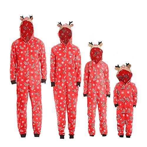 Weihnachten Familie Pyjamas Outfit Schlafanzug Nachtwäsche Damen Herren Baby Säugling Family Kleidung Zuhause Matching Set Xmas, Jungen Mädchen Kapuze Strampler Overall (Mom,Large)