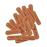 YNuth 20pcs Tags Labels Etiquettes En Cuir Synthétique Hande Made Accessoire DIY Maroquinerie (20pcs)