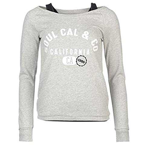 SoulCal Womens Double Layer Sweater Light Pullover Long Sleeve Crew Neck Top Grey Marl 8 (XS)