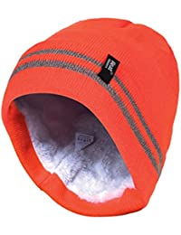Heat Holders - Mens hi vis reflective outdoor winter thermal knitted high visibility turnover hat in orange and yellow