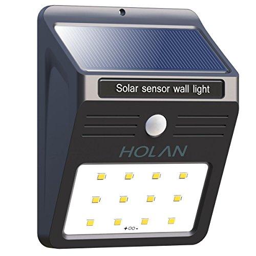Solarleuchte mit Bewegungsmelder, Soft Digits 12 LED Solar Wandleuchte / Bewegungssensor Solarlampe / Solar Außenleuchte mit 2 Intelligenten Modi / Wetterfeste / Auto On und Off für Patio, Plattform, Hof, Garten, Weg