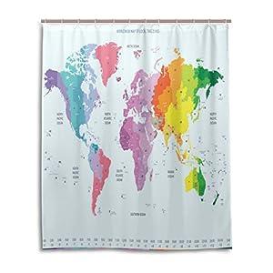 Cortina de ducha de baño 60x 72pulgadas colorido mapa del mundo zonas horarias pared Art tela de poliéster a prueba de moho cortina de baño