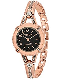 RIDIQA Analog Crystal Studded Golden Dial Stainless Steel Golden Wrist Watch For_Girls, Women-RD-070