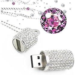 Shooo Clé USB 8 Go Pendrive Bling Strass Diamant Cristal Paillettes Affaire Brillant Collier de Bijoux