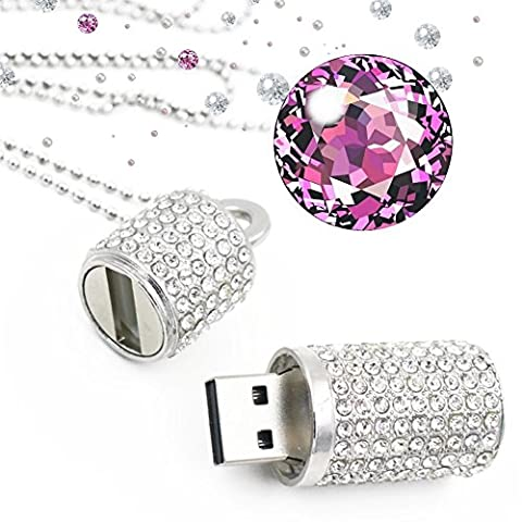 shooo USB Flash Drive, bling strass Diamant Cristal Glitter Étui à rouge à lèvres brillant Jewelry Collier, 8/16/32/64Go 16 Go Silver