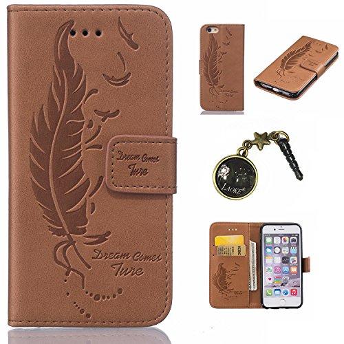 PU Cuir Coque Strass Case Etui Coque étui de portefeuille protection Coque Case Cas Cuir Swag Pour Apple iPhone 6/ iPhone 6S (4.7 pouces)+Bouchons de poussière (8AE) 8