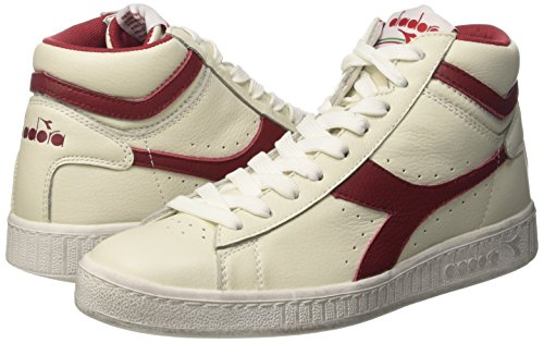 Diadora Game L High Waxed, Pompes à plateforme plate mixte adulte Bianco (Bianco/Rosso Peperone)