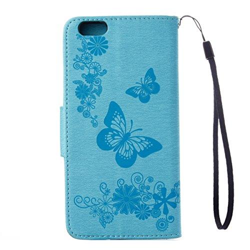 """Etsue Lanyard Leder Handyhülle für iPhone 6S/iPhone 6 4.7"""" Schmetterling Ledertasche Schutzhülle, Elegant Retro Blumen Leder Flip Case Butterfly Wallet Tasche Cover Hülle Magnetverschluss mit Standfun Butterflies,Blau"""