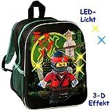 """3-D Effekt & LED Licht ! _ Kinder Rucksack - """" Lego - Ninjago / Ninja """" - Tasche - wasserfest & beschichtet - leuchtend - Kinderrucksack mit Seitenfach / groß Kind - Jungen - Kindergartentasche - z.B. für Vorschule / Schule / Kindergarten - Jungenrucksack - Kindergartenrucksack - Legofigur / Figuren Ninjas Jay Kai Zane Cole - Movie - Ninjakämpfer Film / Shinobi - Samurai - Kita Kindertagesstätte - Kindertasche - Kindergarten / Vorschulrucksack - Vorschulranzen - Sport / Wanderrucksack"""