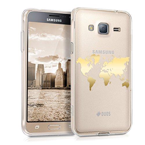 kwmobile Samsung Galaxy J3 (2016) DUOS Hülle - Handyhülle für Samsung Galaxy J3 (2016) DUOS - Handy Case in Gold Transparent