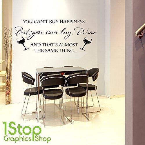 1STOP Graphics Shop - Wein Happiness Wandaufkleber Zitat - Heimküche Wandkunst Aufkleber X137 - zartrosa, Medium