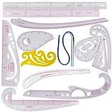 Plastica Fashion righello set varie forme 30cm francese curve righello triangolo righello da taglio multifunzione pulsante curve braccio manica 55cm classificati B97righello set cucito (centimetri/pollici) 13 rulers