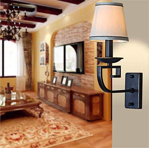 Wandleuchten Indoor Retro Rural American Nachttischlampe Sackleinen Schatten Schmiedeeisen Schwarz Wandleuchte mit E14 Sockel für Wohnzimmer Schlafzimmer Bar Restaurants Korridor Dekoration Leuc