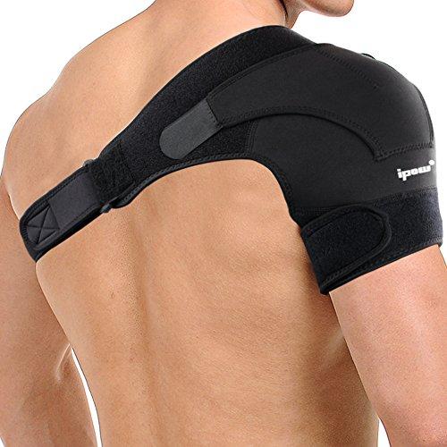 IPOW Verstellbar Schulter Unterstützung aus Neopren Schulter Bandage Gurt Schulterschutz für Sportverletzungen Schulter Schmerzlinderung Unisex passt links oder rechts Schulter Size L