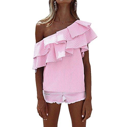 Camicetta monospalla donna asimmetrico camicia a righe t-shirt estive manica corta maglietta con volant bluse maglie tops – landove