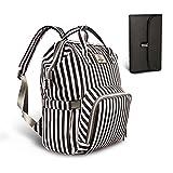 HEYI Mutifunktionale Wickeltasche Rucksack, Wasserdichte Wickelrucksack Tasche, Große Reisetasche für Mutter und Baby (Schwarz-Weiß-Streifen)