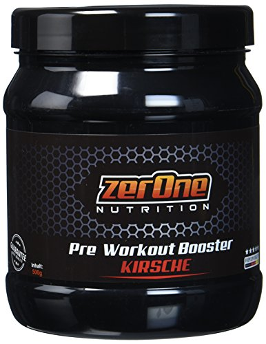 ZerOne Pre Workout Booster Fitness | Maximaler Pump Fokus | Leucin | Isoleucin | Valin 2:1:1 | Energie Kraft Ausdauer | L-Citrulline Maca | Koffein Guarana | Taurin | Kirsche 500g (Energie-booster Supplements)