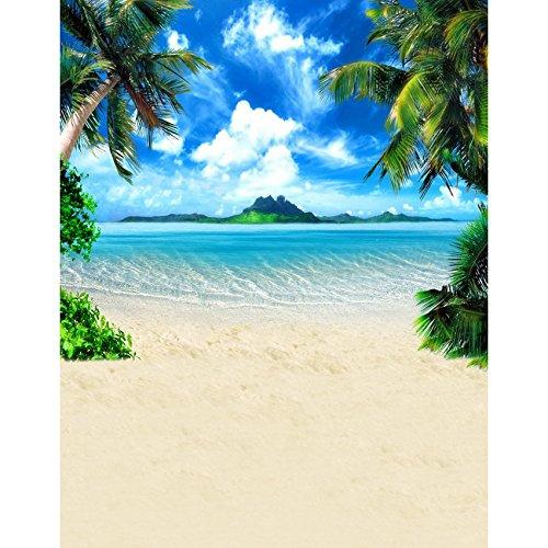5x 7ft vinilo Digital cielo Azul playa playa sol mar isla fotografía Studio Telón de fondo fondo