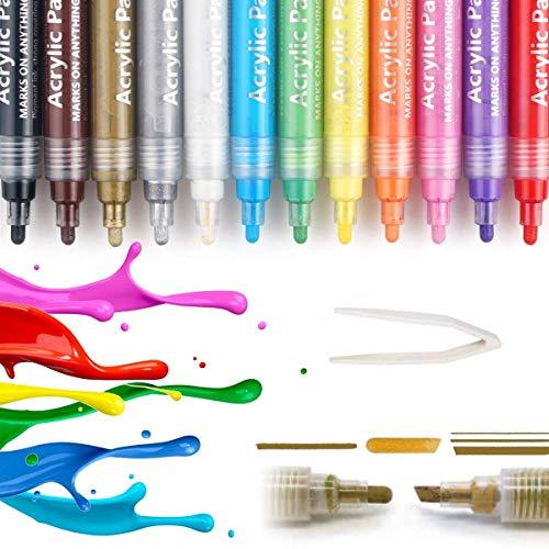 Acrylfarbe Marker Stifte, Acrylstifte Marker, Acrylfarben, Wasserfest, Permanent, Zweiseitige Stiftspitze, Inkl. Pinzette 12 Farben Set, Ideal für Stoff, Leinwand, Stein, Holz, Papier UVM.