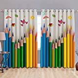 #1: B7 CREATIONS Digital Printed Pencil Whiteout Eyelet Window Curtain 1 Piece - 5 Feet, Multicolor