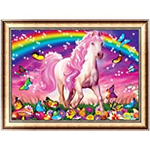 JAGENIE Arcobaleno e Cavallo DIY 5D Diamante Ricamo Pittura Punto Croce Artigianato Decor 30X40cm