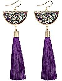 ab88abb35391 Zolimx Mujeres Bohemia Vintage Pendientes Flecos Borla Larga Cuelgan Los  Pendientes de Joyería (Púrpura)