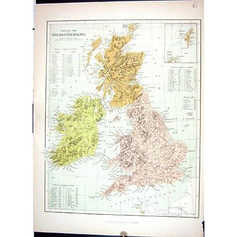 Isole Britanniche Fisiche Irlanda Scozia Inghilterra della Mappa 1886 dell'Oggetto