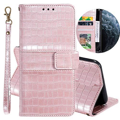 Miagon Krokodil Flip Hülle für OnePlus 7,Stilvoll PU Leder Wallet Tasche mit Standfunktion Magnetisch Brieftasche Bookstyle Schutzhülle,Roségold