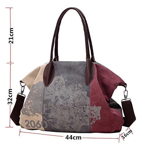 PB-SOAR Damen Vintage Canvas Große Schultertasche Umhängetasche Handtasche Henkeltasche Beuteltasche Reisetasche (Grau + Lila) Grau + Lila