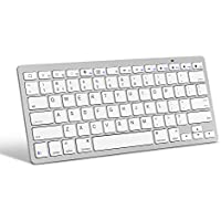 OMOTON Ultra-Slim Bluetooth Keyboard Compatible with Apple iPad Air, iPad Mini, iPad Pro and other iOS Devices, Apple Edition, White