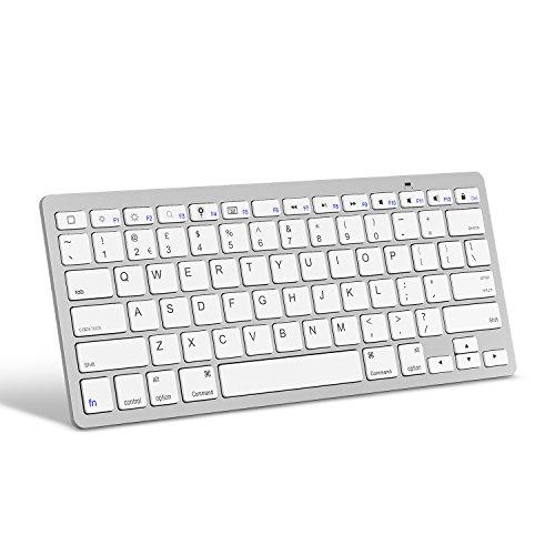 OMOTON Wireless Englische Bluetooth Tastatur / Keyboard (ultraschlanke) für Apple iPad Air, iPad Pro, iPad Mini und andere iOS Gerät, weiß