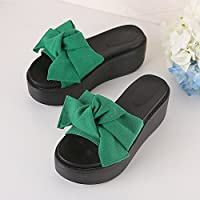 fankou Thick Slippers Beach Summer Anti-Slippery Slope to Cool The High-Heel Women's Shoes and Sandals Are,36, Green