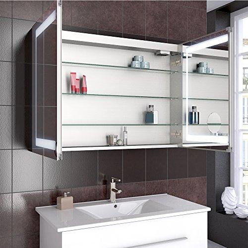 Bad Schrank – Spiegelschrank Aluminium 100 cm - 6