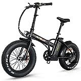 Addmotor Klapprad, E-Bike, 500 W, für Erwachsene, Fatbike-Reifen, mit Geschwindigkeitssteuerung, Lithium-Akku mit 48V / 10,4Ah, Pedalunterstützung, für Berge, Strand und Schnee geeignet, M-150, 4Farben, schwarz