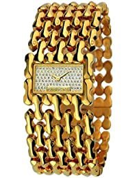Roberto Cavalli Ladies Oryza Analogue Watch R7253146517 with Quartz Movement, Stainless Steel Bracelet and Gold Dial
