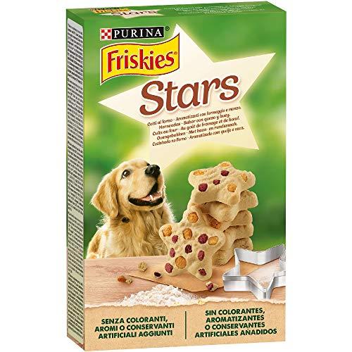 PURINA FRISKIES Stars Biscotti per Cane aromatizzati con Formaggio e Manzo - 6 scatole da 320g ciascuna