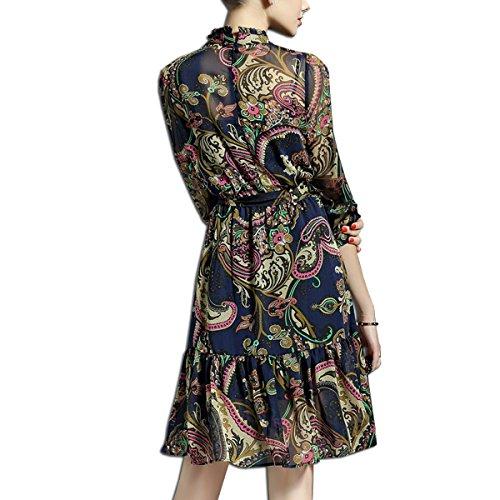 KAXIDY Femme A-ligne Soie Robes Manches Courtes Jupe évasée Robe de Bal Robe de Soirée Bleu
