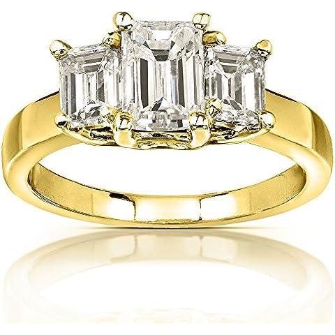 Moissanite, con taglio smeraldo, anello di fidanzamento con 3 pietre, 2 3/4 carato (ctw) in oro giallo da 14 k