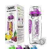 CoolStuffX 3-in-1 Fruit Infuser + sports water bottle + protein shaker. Long Infuser