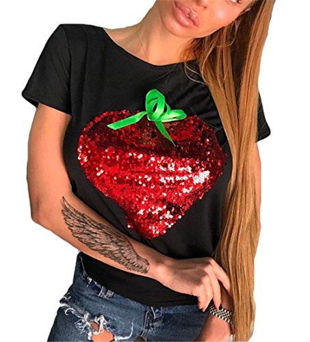 Femmes Crew Sexy cou à manches courtes fraise d'impression Sequin Slim Fit Shirt Top Noir