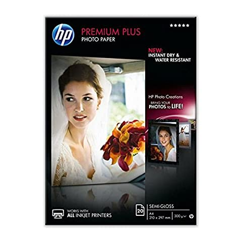 HP CR673A Premium Plus Semi-Gloss Photo Papier 1er-Pack 300 g / m2 A4, 20 Blatt, weiß - Amazon Semi