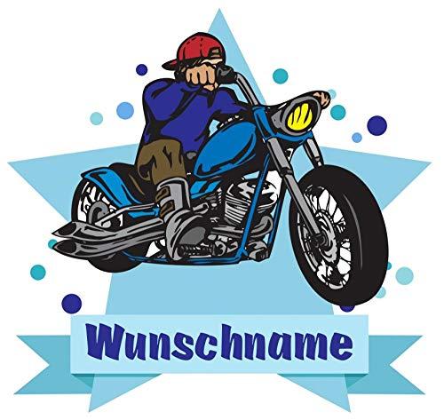 Samunshi® Chopper Motorrad Aufkleber mit Namen Autoaufkleber Namensaufkleber Kinder in 7 Größen (15x13,1cm Mehrfarbig)