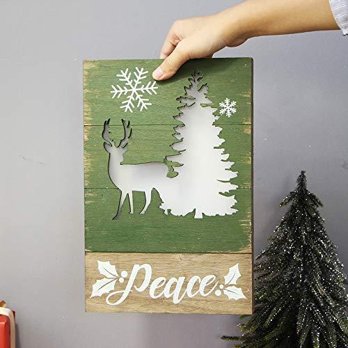 Berrose-Weihnachten Leuchtend Geschenk Hölzern Dekoration Elch Wand Hängend Haustür Erleuchten Wandbehang Weihnachtsbaumschmuck Haus Dekoration